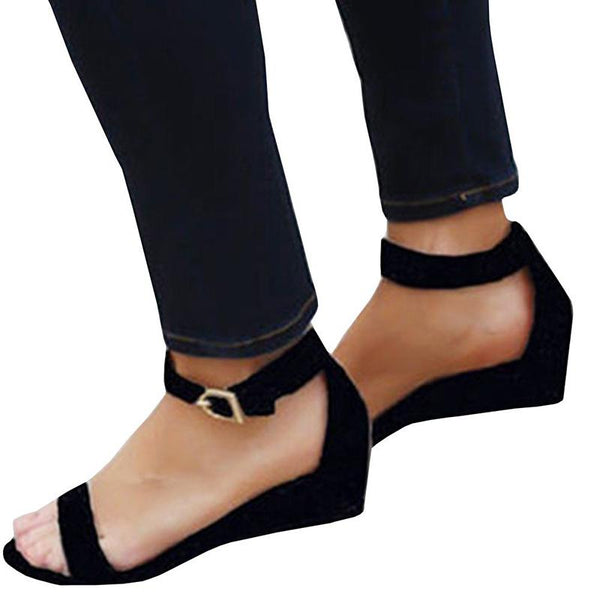 Women Nubuck Sandals Casual Peep Toe Adjustable Buckle Shoes