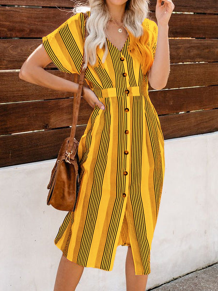 V Neck Women Dresses Going Out Buttoned Stripes Dresses