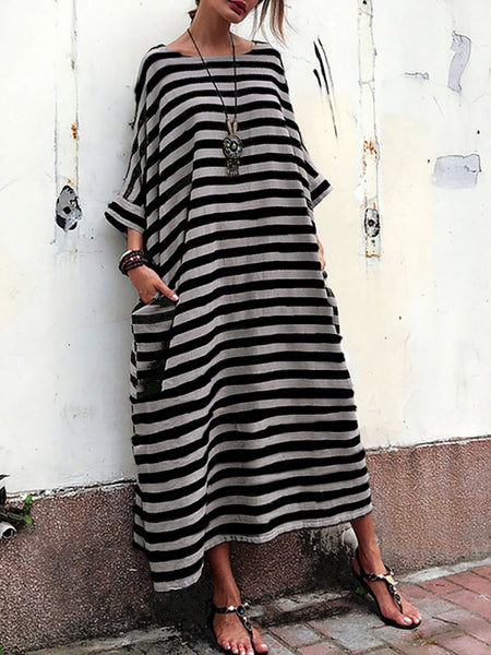 Cocoon Women Daily Casual 3/4 Sleeve Pockets Striped Summer Dress
