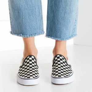 Canvas Slip-on Shoes Checkerboard Loafers