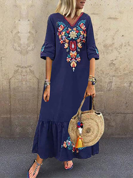 Casual V Neck Embroidered Floral Maxi Dress