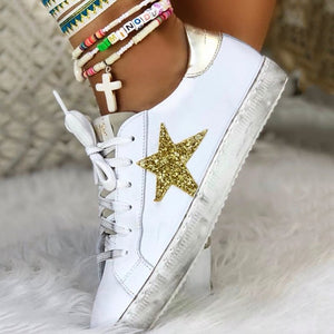 Round Toe Sparkling Glitter Star Flat Heel Sneakers