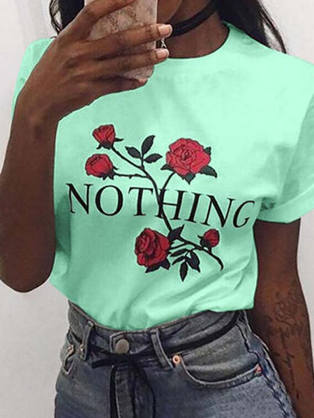Daily Short Sleeve Casual  Flowers Printed T-Shirts