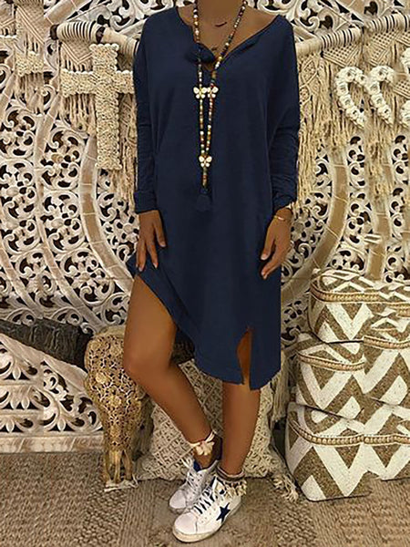 Plus Size V-Neck Casual Solid Fall Dress