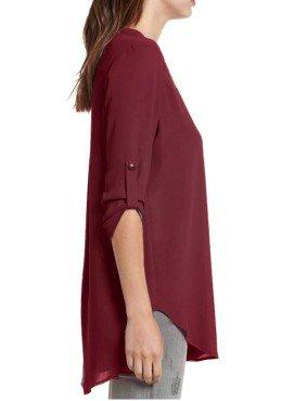 Half Sleeve Stand Collar Solid Pockets Plus Size Chiffon Blouse