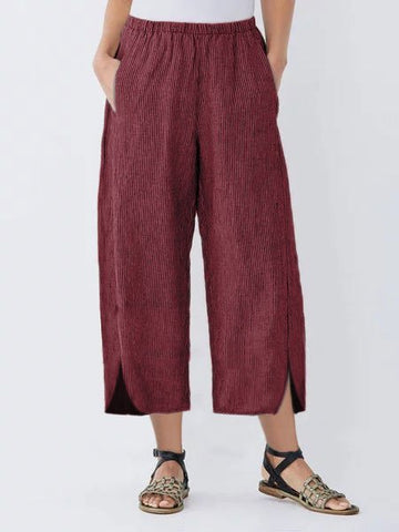 Going Out Casual Linen Pockets Shift Striped Pants