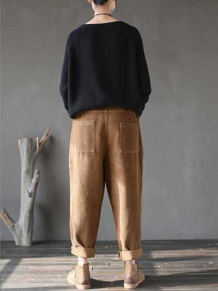 Pockets Casual Elastic Waist  Corduroy Pants