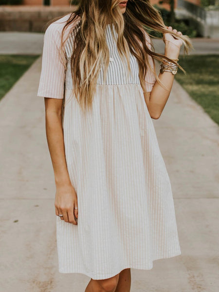 Pink Crew Neck Striped Short Sleeve Dress