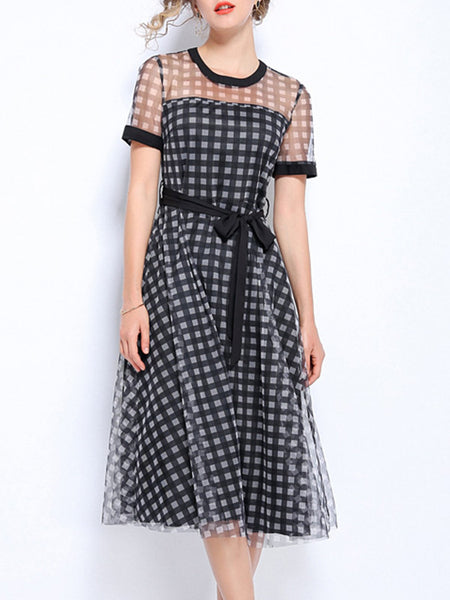 See-Through Look A-Line Elegant Plaid Midi Dress