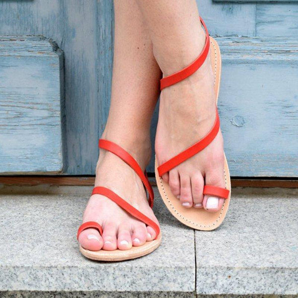 Women's PU Shoes Red Sandals Flip-Flops Plus Sizes