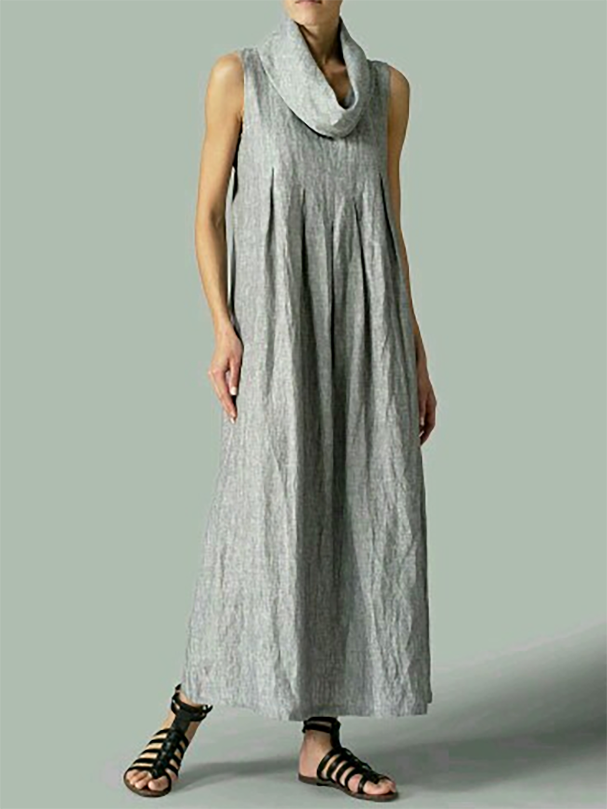 Plus Size Gray Basic Shift Solid Casual Maxi Dress