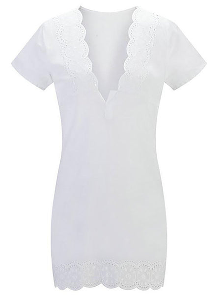 V neck  Sheath Women Going out Short Sleeve Eyelet Solid Summer Dress