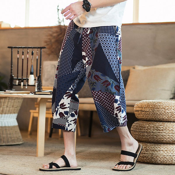 Men's Casual Printed Pants Loose Harem Hanging Shorts