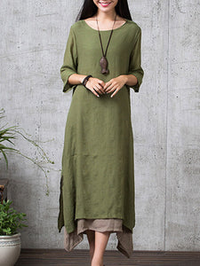 Crew Neck 3/4 Sleeve Casual Solid Plus Size Two Piece Linen Dress