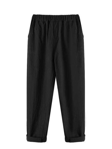 Simple  Basic Shirred Solid Pockets Plus Size Linen Pants