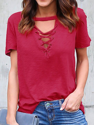 6 Colors V Neck Casual Simple & Basic Eyelet T-Shirts