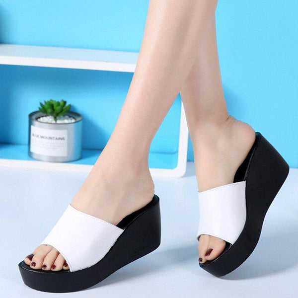 Peep Toe PU Wedge Heel Slippers