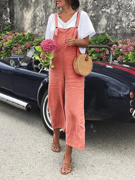 Vintage Women Sleeveless Casual Jumpsuit Bodysuits