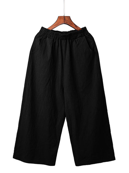 Solid Linen Pockets Cotton Plus Size Pants