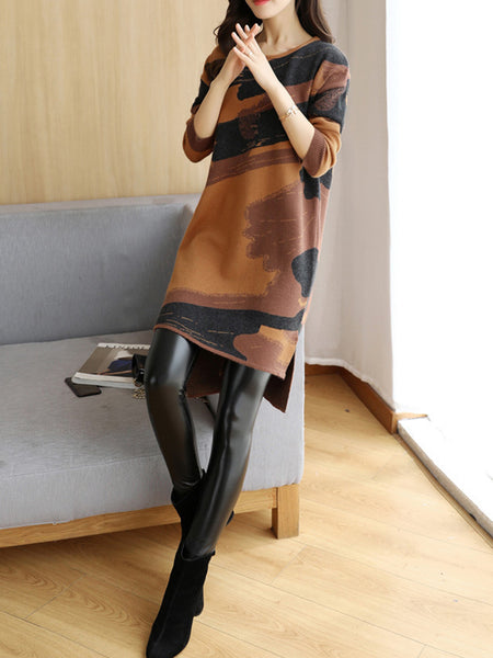Abstract Knitted Crew Neck Long Sleeve Dress