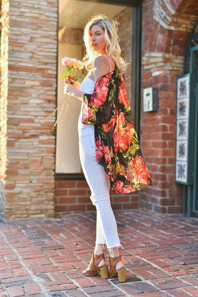 Floral Casual 3/4 Sleeve Tops