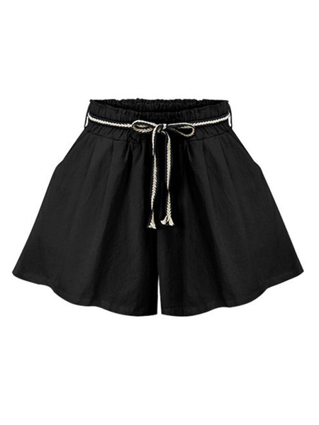 Pockets Drawstring Casual Shorts
