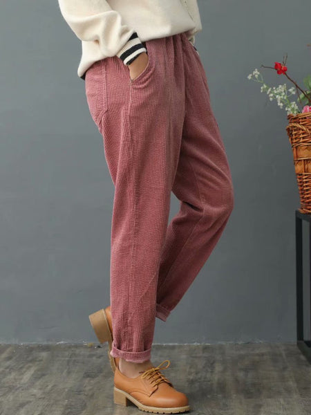 Corduroy Pockets Fall & Winter Solid Pants