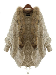 Apricot Fluffy Knitted Batwing Lace Up Cardigan