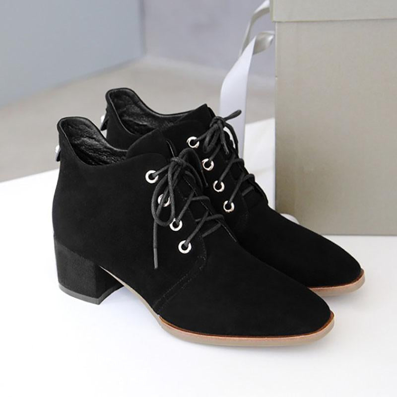 Black Winter Casual Chunky Heel Lace-up Boots