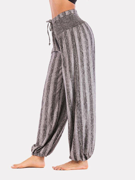 Women's Stretchy Simple Striped Yoga Daily Loose Casual  Pants