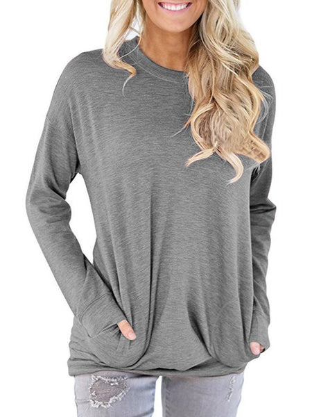 Pockets Crew Neck Casual T-Shirt