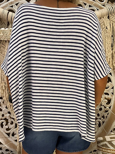 Batwing Striped V Neck Casual T-shirts