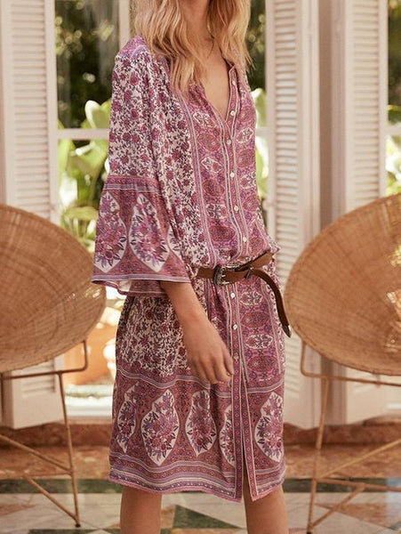 5 Colors Summer Bohemian Style V Neck Sexy Printed Dresses