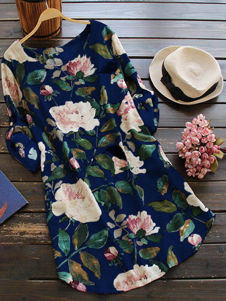 Women Daily Long Sleeve Casual Floral-print Floral Casual Dress