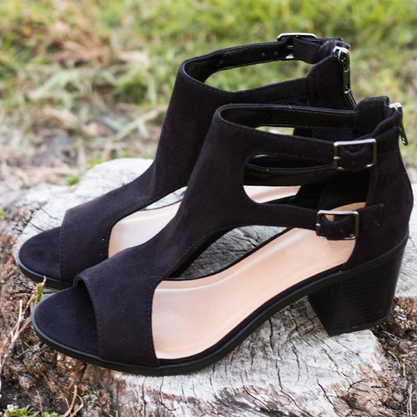 Women Pu Pumps Sandals Casual Peep Toe Shoes