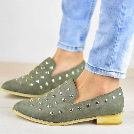 Faux Leather Rivet All Season Flats