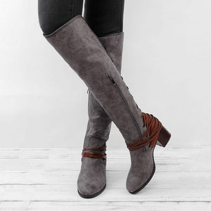 women vintage lace up boots european style bandage knee high boots