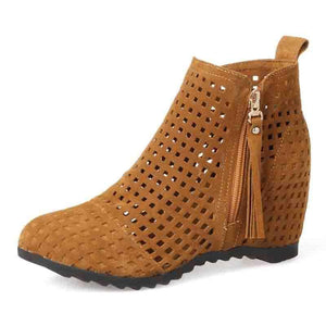 Brown Artificial Nubuck Hollow-out Date Wedge Heel Boots