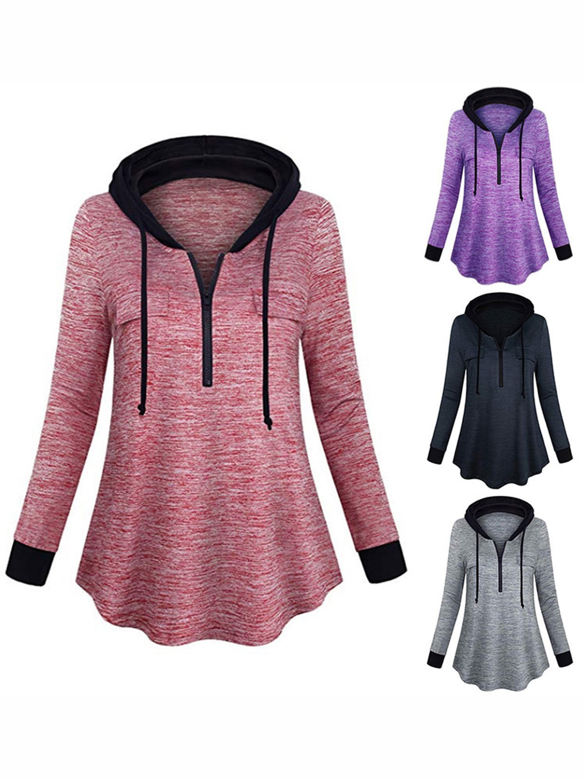 4 Colors Casual Pockets Long Sleeve Solid Hoodies