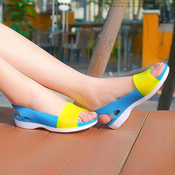 Mixed Candy Color Peep Toe Slingback Jelly Sandals