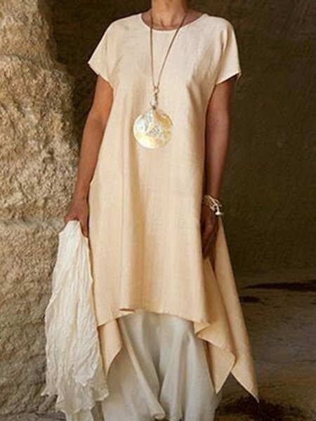 Summer Linen Round Neck Asymmetrical Casual Dress