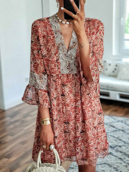 V Neck Half Sleeve Folds Boho Dress