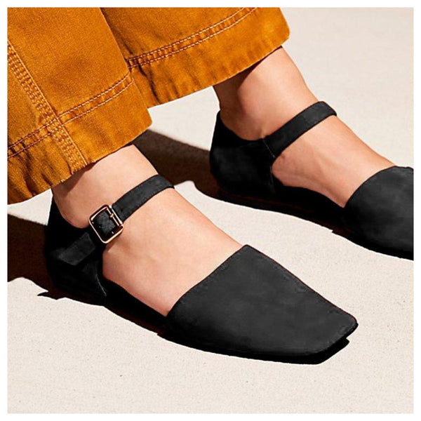 Womens Casual Chic Buckle Flat Heel Sandals