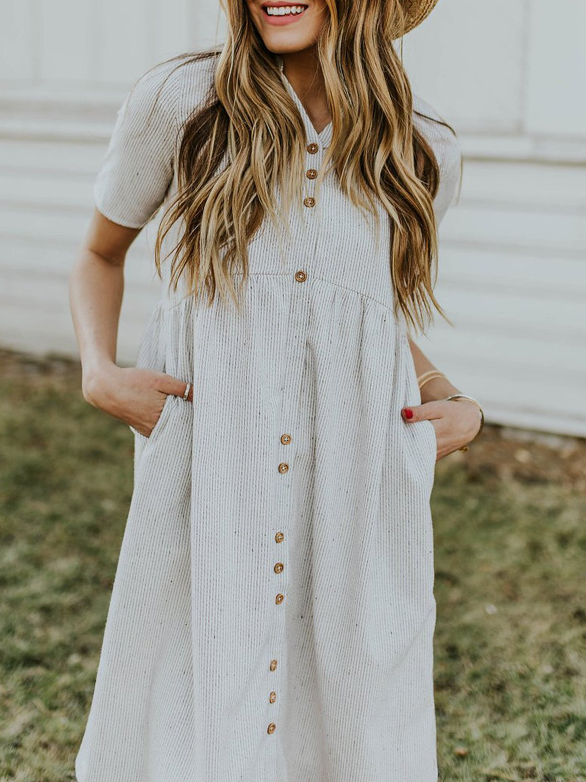 Gray Short Sleeve A-Line Striped Pocket Casual Dresses