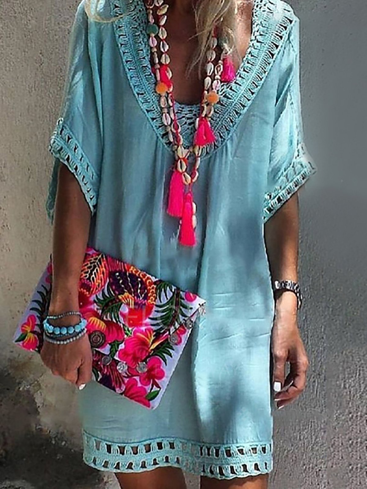 Sky Blue Cutout Half Sleeve Vacation Mini Dress