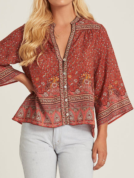 Boho 3/4 Sleeve Printed Buttoned Down Shirt