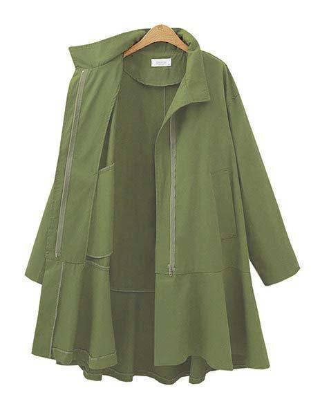 Amy Green 3/4 Sleeves Casual Shirt Collar Wind Coat