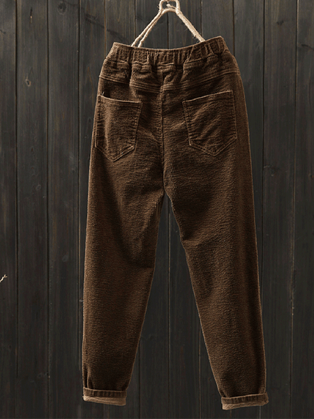 Corduroy Casual Plus Size Pants