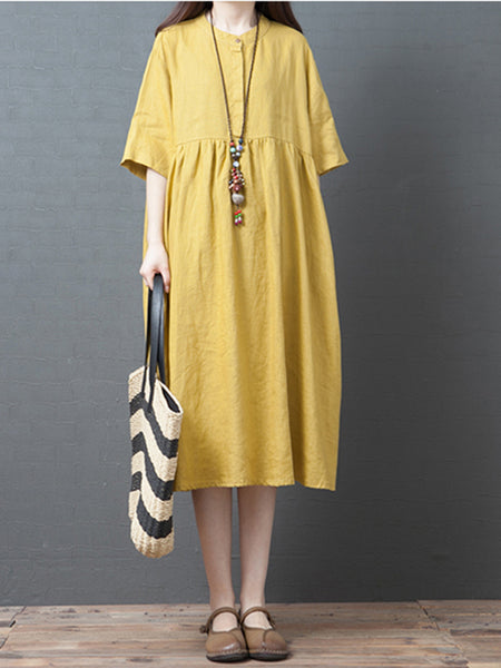 Pockets Cotton-Blend Crew Neck Half Sleeve Midi Dress