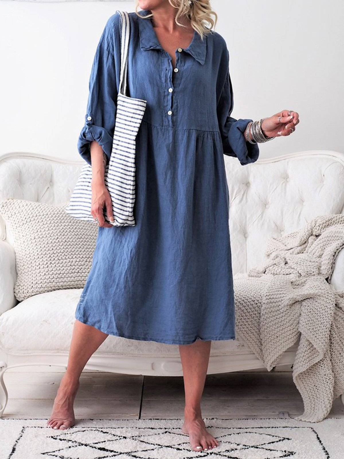 Basic Long Sleeve Shirt Collar Buttoned Dresses